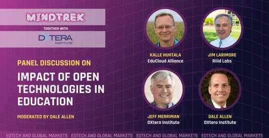 Paneelikeskustelu: Impact of Open Technology in Education. Puhujien profiilikuvat: Kalle Huhtala, Jim Larimore, Jeff Merriman, Dale Allen