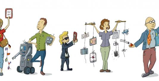 Piirroskuva, jossa rivissä joukko tutoropettajia ja oppilaita erilaisten laitteiden äärellä